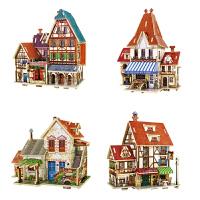 艾利图 3d木质立体拼图建筑模型玩具成人木质拼图房子diy手工模型