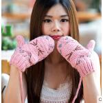 女加厚保暖可爱卡通户外连指手套  韩版全指毛线手套