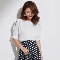 2019夏季新款女装韩版女式上衣露肩圆领百搭OL气质雪纺衫女 白色