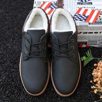 加绒加棉低帮男鞋子潮流学生韩版休闲鞋百搭保暖工装鞋男冬季板鞋 黑色 B05X
