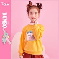 【今日3折�A估�r:45.3元】迪士尼女童�l衣春秋新款�r尚�A�I落肩卡通小�w象洋��和�����上衣
