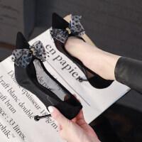 法式少女高跟鞋女细跟2019春季新款性感蝴蝶结网纱单鞋女夏猫跟鞋