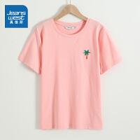 真维斯女装 2021春装新款 时尚平纹印花圆领短袖T恤