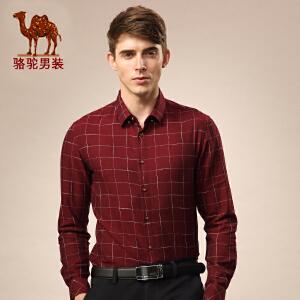 骆驼男装 新款领尖领格子衫 长袖衬衫 衬衣男