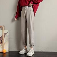毛呢裤女秋冬宽松加厚舒适高腰显瘦女裤休闲阔腿直筒长裤子