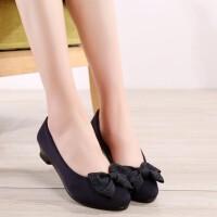 春秋新款老北京布鞋女鞋黑色工装鞋蝴蝶结跳舞单鞋坡跟舒适工作鞋 蓝色
