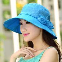 太阳帽子女夏天韩版户外防晒沙滩帽凉帽大沿可折叠遮阳帽
