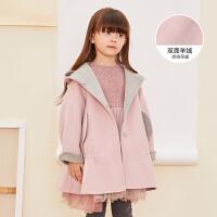 【2件2.5折后到手价:474.75元】马拉丁童装女童大衣装新款保暖质感双面羊绒粉色连帽大衣外套