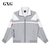 GXG男装 秋季热卖商场同款新款时尚复古男士运动风拉链夹克外套潮