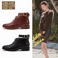 玛菲玛图女短靴秋2018新款圆头低跟平底及踝靴洛丽塔皮带扣牛皮系带马丁靴1788-5LY