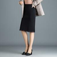 针织半身裙秋冬女2018新款中长款高腰包臀裙弹力显瘦一步裙毛线裙 黑色 均码 1尺8到2尺4
