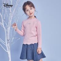 【3折�A估�r:39.1元】迪士尼女童休�e童�b打底衫2020春秋新款�����和�卡通印花上衣潮