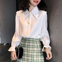 【超火爆款】洋气衬衫女秋装2019新款韩版宽松显瘦木耳边气质白色衬衣长袖上衣