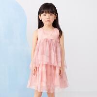 【秒杀价:315元】马拉丁童装女童连衣裙2020春夏新款无袖印花网纱蛋糕裙公主裙