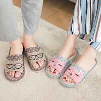 拖鞋 男女室内亚麻卡通家居鞋2020夏季新款韩版时尚情侣家用防滑厚底凉拖鞋子