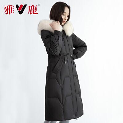 yaloo/雅鹿羽绒服女2019新款冬季收腰防寒外套中长款显瘦冬装潮F