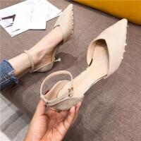 高跟鞋女鞋2019新款时尚尖头一字扣带女鞋细跟高跟性感凉鞋高跟鞋