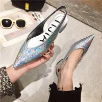 单鞋女2019新款时尚尖头浅口低跟单鞋后镂空气质银色百搭性感单鞋