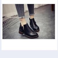 短靴女2018新款秋冬时尚马丁靴圆头单靴平底女靴中跟女 鞋子