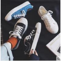 帆布鞋女�W生�n版平底百搭小白鞋女新款�凸鸥畚缎蓍e板鞋