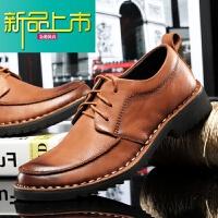 新品上市春季棕色皮鞋男手工商务休闲鞋真皮圆头厚底英伦风牛皮大码男鞋子