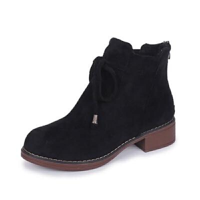 2019冬季新款韩版绒面马丁靴女式系带后拉链粗跟低跟短筒靴子女
