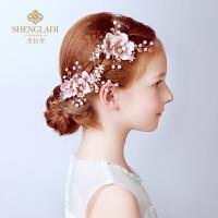 花童礼服演出配饰女童头饰儿童头饰 儿童头花饰品发夹花朵粉色