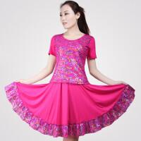 中老年广场舞服装套装大摆裙子短袖上衣杨艺舞蹈服