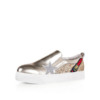 【秋冬新款 限时1折起】卡迪娜 欧美徽章牛皮革小白鞋女板鞋麦昆休闲鞋 KL60607
