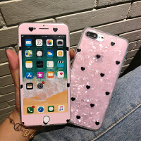 粉色��ぜy�坌奶O果6s�化膜iphone7plus全屏手�C彩膜8p防爆X�N膜