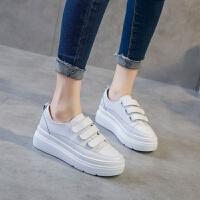 2018新款秋季魔术贴小白鞋韩版休闲舒适内增高厚底女鞋潮