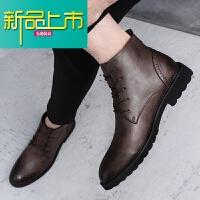 新品上市雕花男款马丁靴男18中帮男士马丁靴英伦韩版百搭加绒靴子 棕色 正常款9681