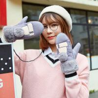 手套女冬可爱ins韩版卡通学生带绳子连指挂脖保暖加绒麂皮绒手套