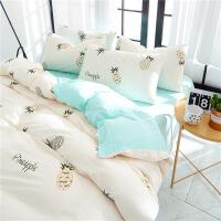 床上用品水洗棉四件套全棉纯棉公主风床单被套被子超柔三件套定制
