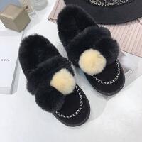 毛毛鞋女2018韩版冬新品平底学生兔毛毛鞋雪地靴女加绒保暖棉鞋