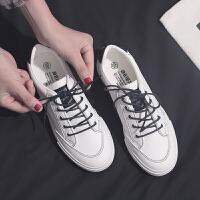 鞋子女学生韩版帆布鞋ulzzang板鞋百搭2019春款小白鞋 白色 皮面