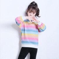 儿童卫衣 女童长袖卫衣2020秋款中大童装新款时尚洋气儿童彩虹条长袖棉印花T恤