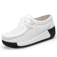 2019新款夏季款鞋女真皮厚底洞洞皮鞋休闲百搭坡跟单鞋女鞋
