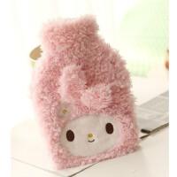 粉色可插手冲水热水袋暖水袋 卡通毛绒热水袋套 不插手 美乐蒂热水袋