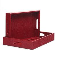 欧式漆皮鳄鱼纹干果盘茶盘子托盘收纳盒2件套装客厅家用抖音 一套两个同色不同尺寸规格