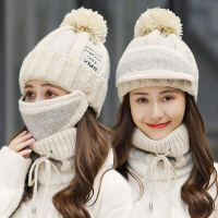 帽子女冬季韩版针织帽百搭可爱学生护耳冬天保暖加绒厚冬天毛线帽