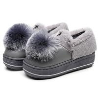 秋冬季加绒豆豆鞋韩版孕妇鞋加绒保暖女鞋孕妇鞋懒人女棉鞋毛毛鞋