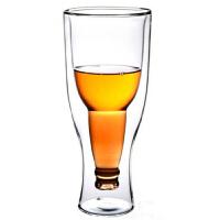 啤酒杯�p�臃��D倒置玻璃杯350ml玻璃杯倒置啤酒瓶�p�硬AП�透明真空杯�r榨果汁杯��意酒吧杯