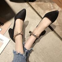高跟鞋女夏季新款韩版时尚百搭尖头一字扣带凉鞋仙女风粗跟单鞋潮