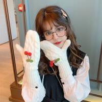毛线手套冬天女加绒可爱骑车用保暖冬季学生骑行开车防寒韩版软妹