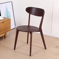 餐椅 北欧实木餐椅白橡木餐椅现代简约时尚餐厅交叉靠背椅舒适家用椅子 深桃木色 圆形座面