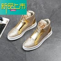 新品上市欧美潮流男鞋高帮鞋时尚个性潮鞋韩版套脚高帮鞋马丁靴男短靴