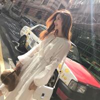 2018秋装新款长袖孕妇蕾丝连衣裙潮妈中长款宽松孕妇打底裙仙女裙 白色+收藏优先发货