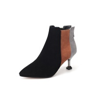2019秋季欧美新尖头细高跟女靴 拼色磨砂时尚高跟短靴一件