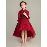 女童礼服公主裙儿童晚礼服婚长袖前短后长花童钢琴演出服